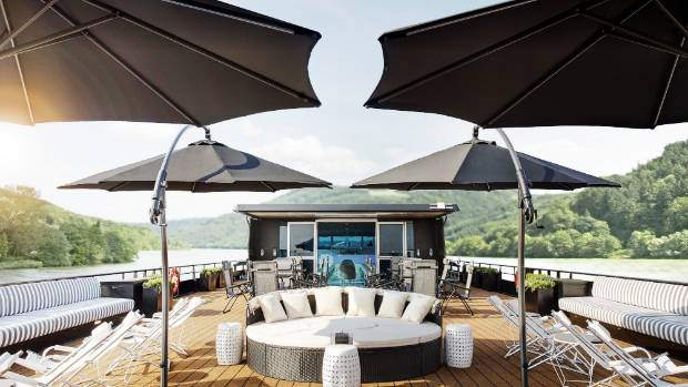 The rooftop deck on U by Uniworld's The A resembles a beach club.