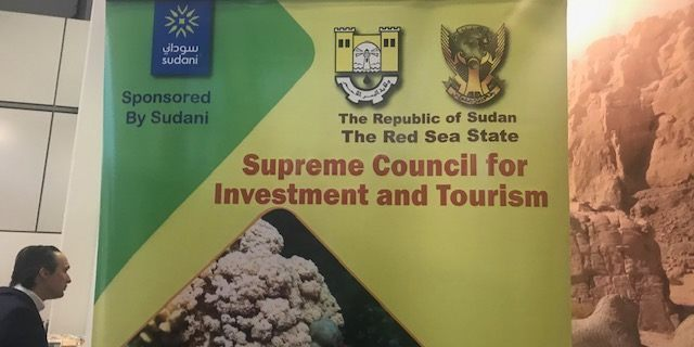 A booth promoting Sudan tourism is seen at the ITB Trade Show in Berlin.