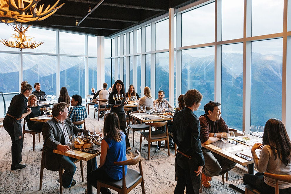 The views from the Sky Bistro at the top of Sulphur Mountain match the quality of the food