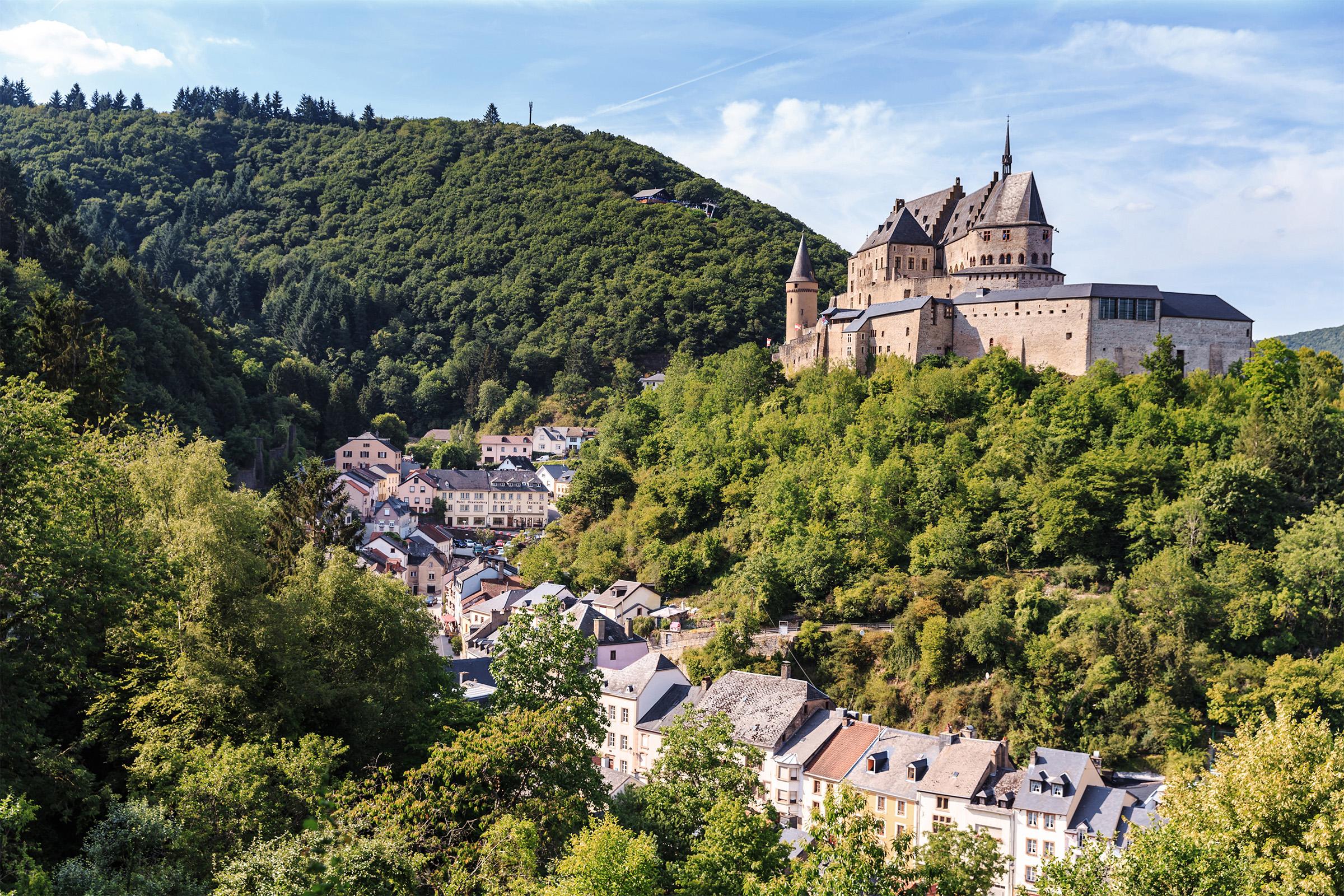 Vianden castle and a small valley