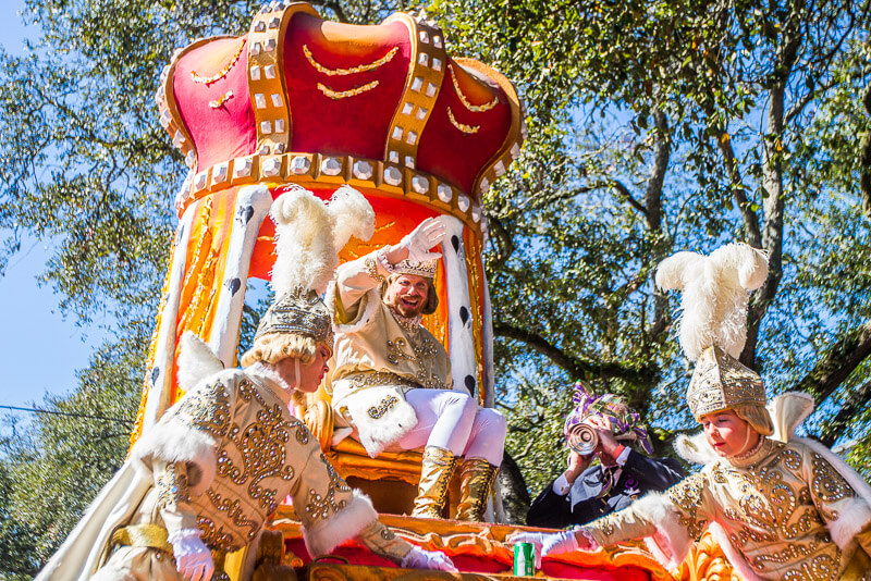King Rex at the Rex Parade during Mardi Gras colors.