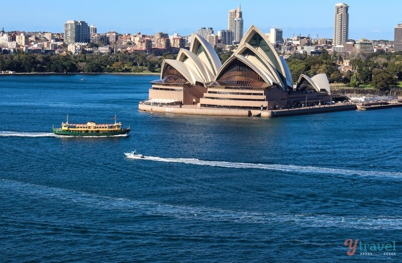 View of Sydney walking across the Sydney Harbour Bridge