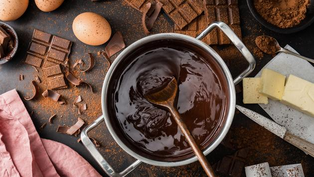 Preparing to make chocolate pastries.