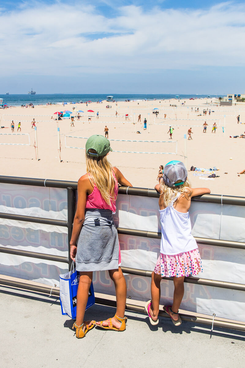 Huntington Beach, California. A popular places for surfers and beach volleyball.