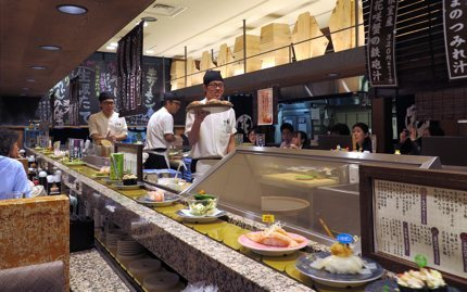 A conveyor-belt sushi restaurant in Tokyo