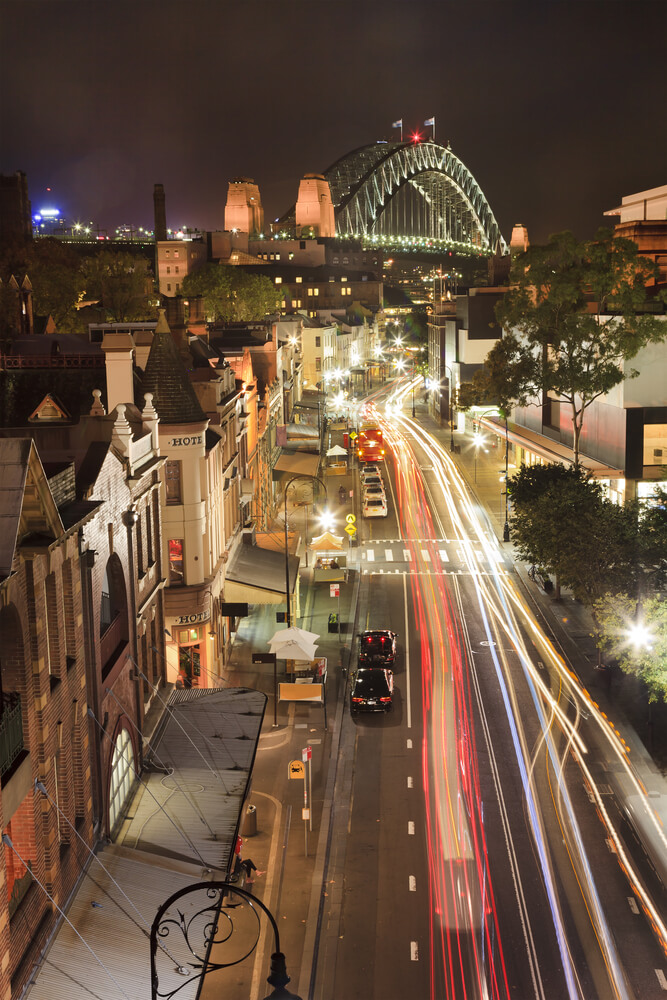 The Rocks District offers impressive views of Sydeny Harbour Bridge