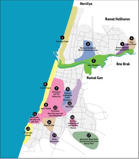 Tel Aviv's tourismMaster Plan defines 17 tourism zones across the city. Screenshot