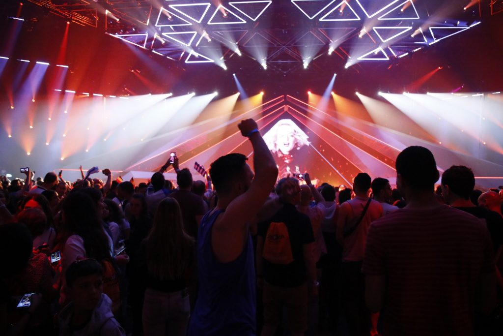 Fans at the first Eurovision semi-final in Tel Aviv, May 14, 2019. Photo by Andres Putting via the official Eurovision website,