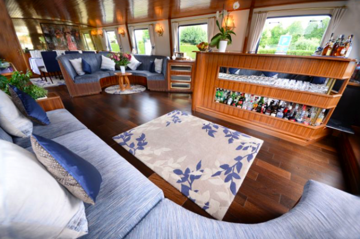 A luxury lounger on board a hotel barge