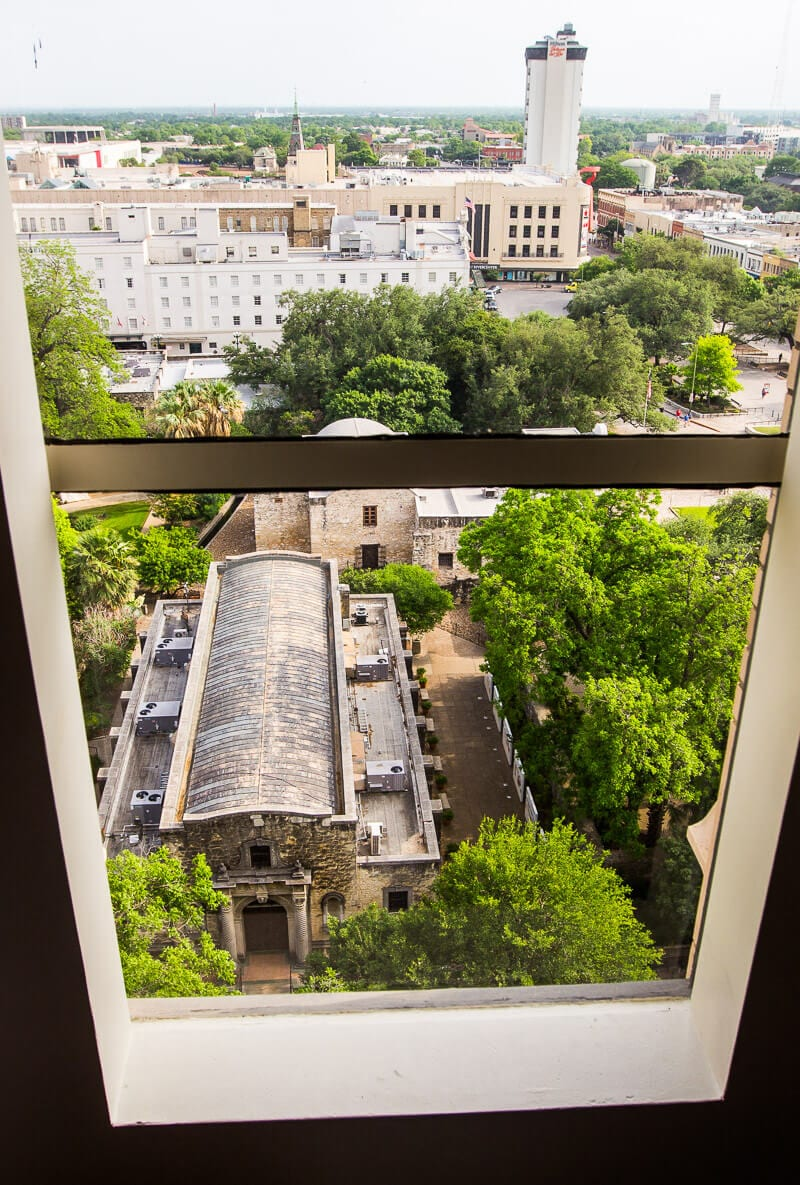 View of The Alamo from the Emily Morgan Hotel in San Antonio, Texas