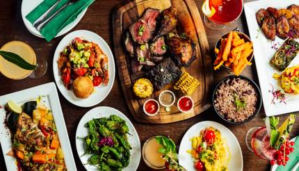 A platter of Caribbean food at Rudies