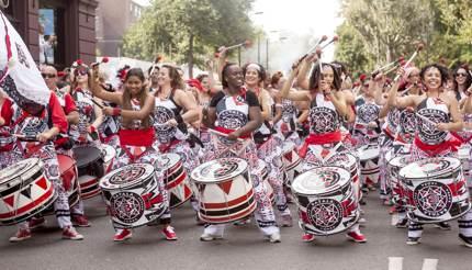 Batala Samba drum group at Notting Hill Carnival
