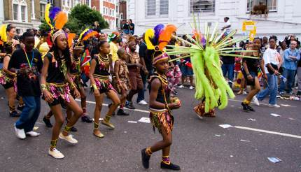 Children during Notting Hill Carnival's family day, London