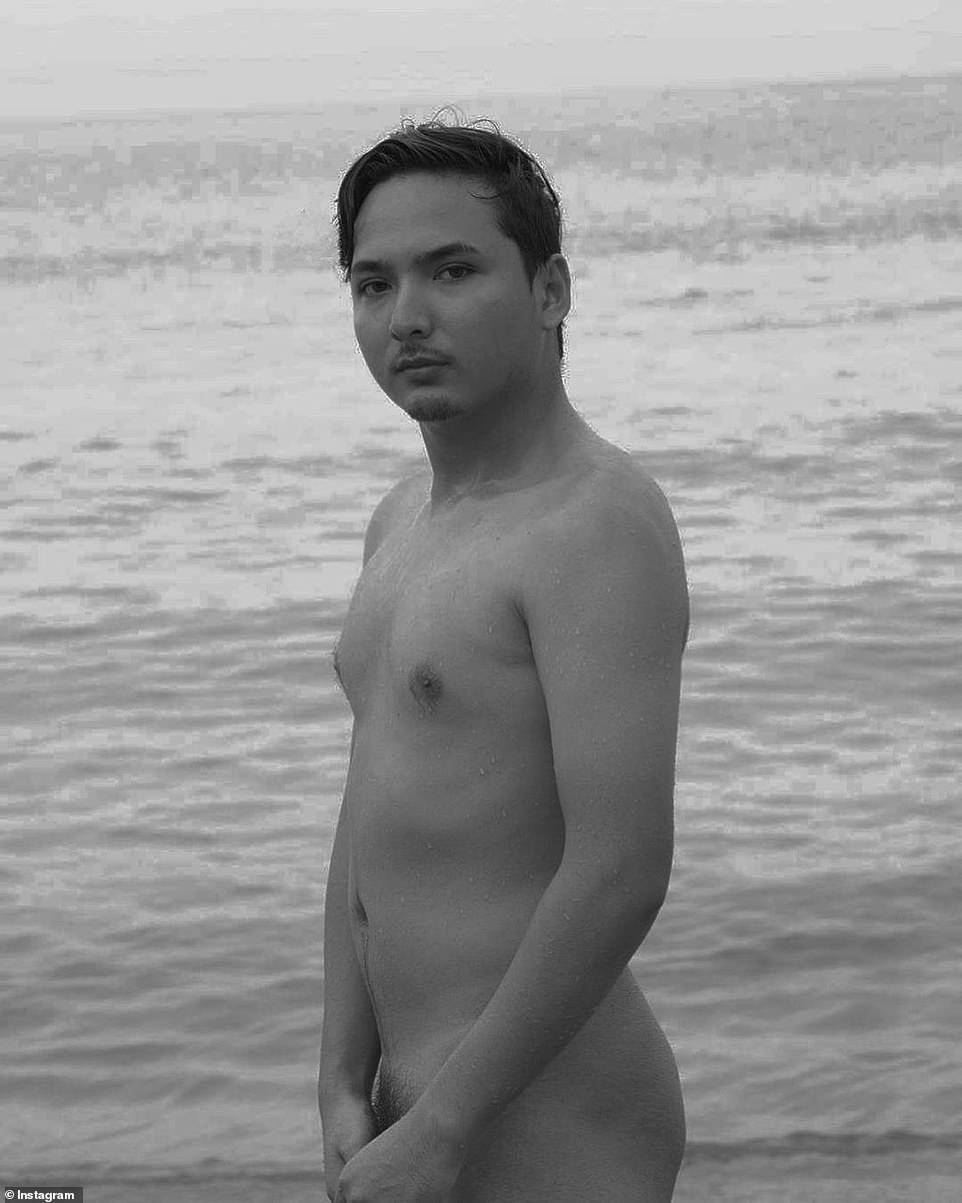Pictured: One man took full advantage of Bali's lack of tourists and snapped a bizarre nude photograph of himself on the beach