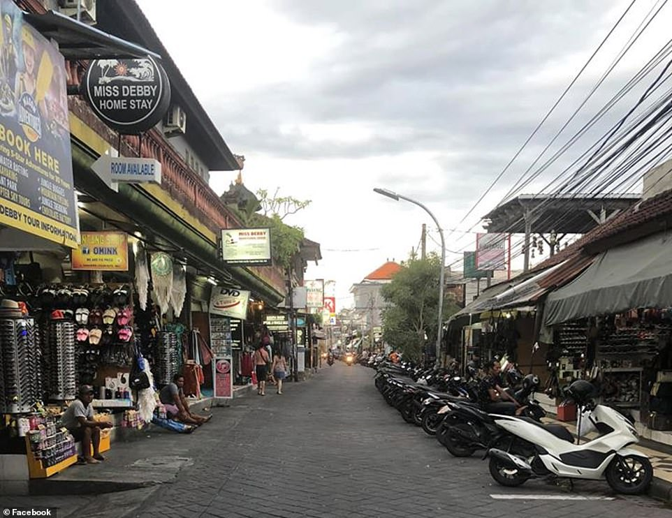 One usually packed street in Bali was eerily deserted after tourists fled home after various travel bans and border restrictions were implemented