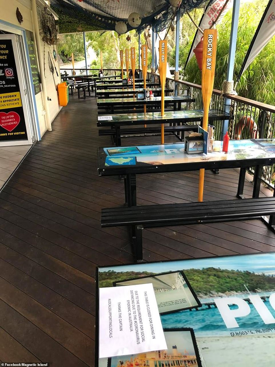 Kalvin Moore, the general manager of the Stuffed On Seafood restaurant, on Magnetic Island (pictured) said trade had plummeted
