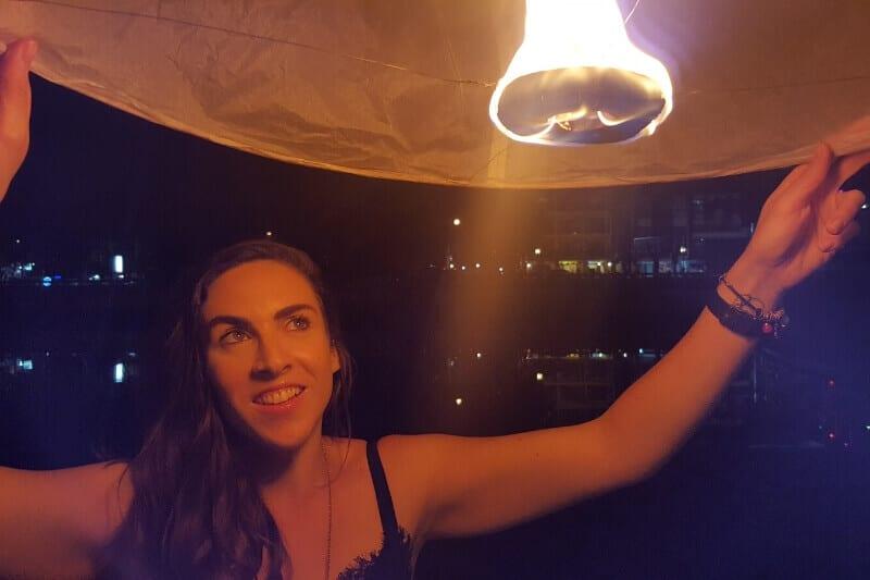 releasing a Khom Loy lantern