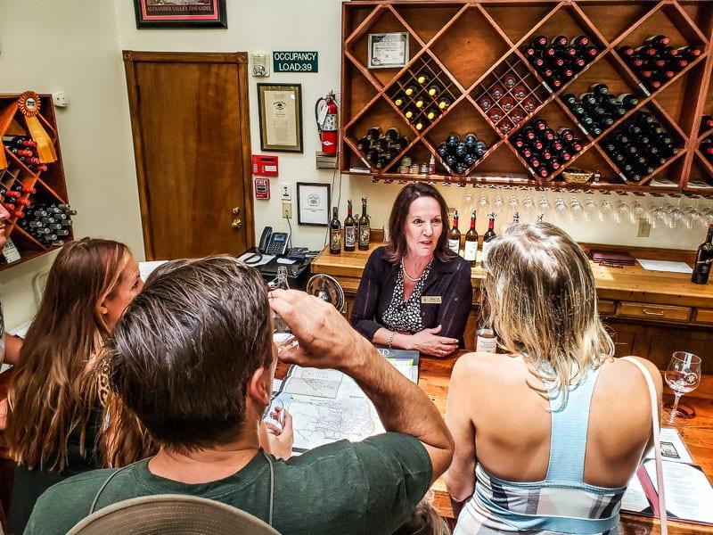 Wine tasting at Alexander Valley Vineyards