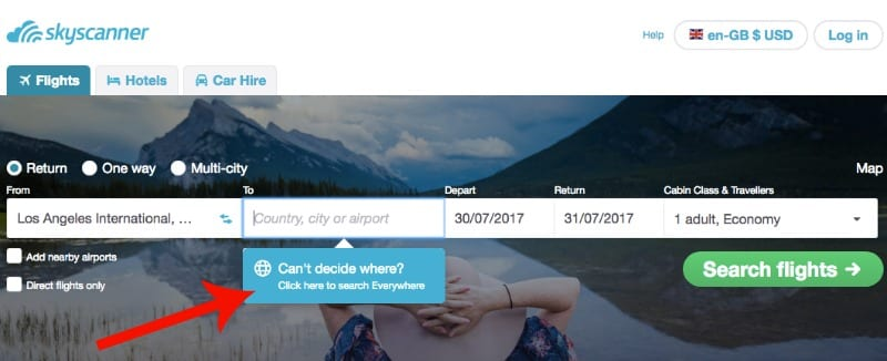 Searching flights using Skyscanner