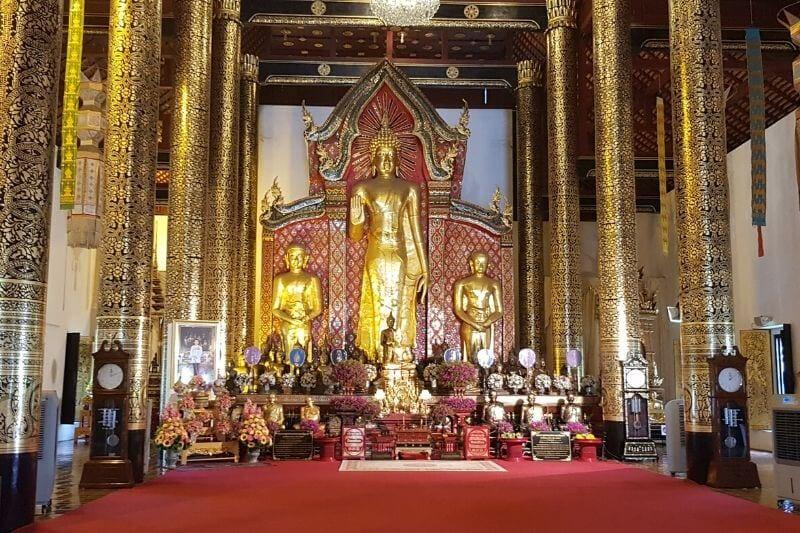 Inside Wat Chedi Luang Buddhist temple Chiang Mai