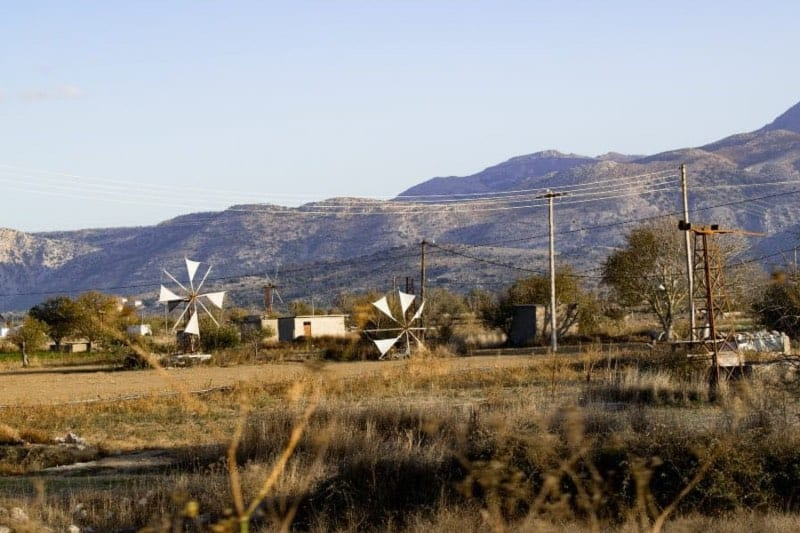 The traditional landscape and the windmills of the Lasithi plateau
