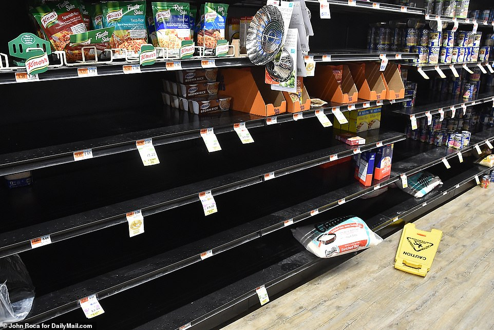 In the Hamptons, year-round residents have flooded social media with photos of empty shelves at stores, like the Best Market in Westhampton Beach shown above