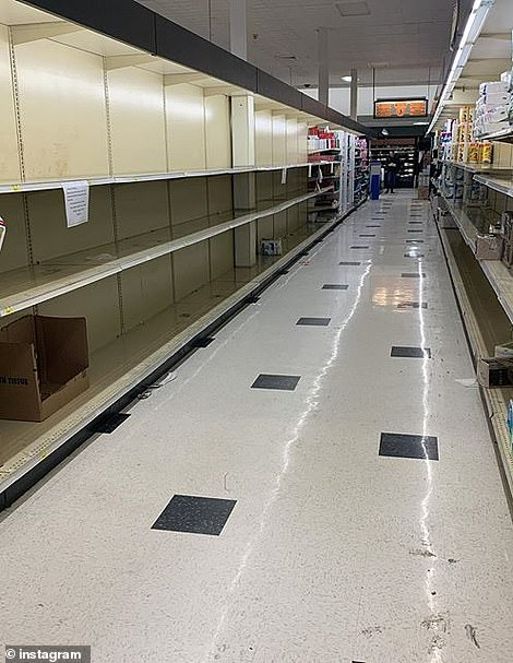 Empty shelves are seen at a Stop & Shop in East Hampton