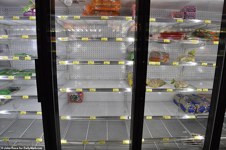 Freezers were empty in this King Kullen in Bridgehampton on Tuesday as locals worry New Yorkers are eating into supplies