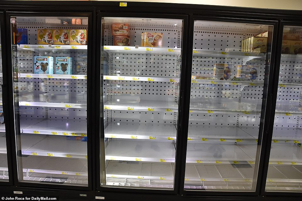 More empty freezers greeted locals on Tuesday in this King Kullen in Bridgehampton. Year-round residents fear that the influx of New Yorkers attempting to escape the epicenter are going to heavily impact their own resources and leave them limited