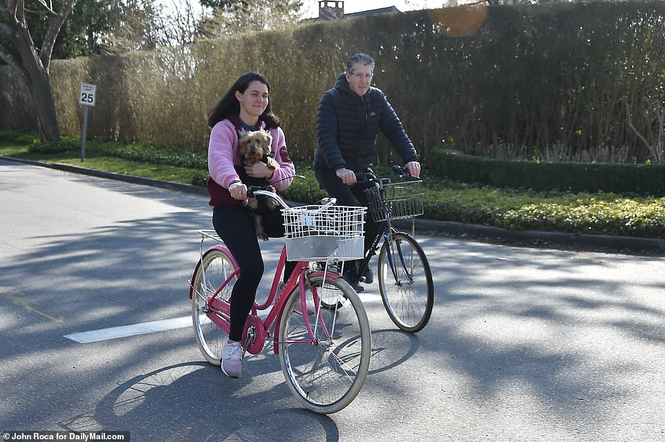 Biking on Halsey Neck Lane in Southampton. Tensions are rising in small towns where rich New York City residents have fled to escape the coronavirus hotspot as locals complain of ransacked supermarkets and hospitals grow more and more crowded
