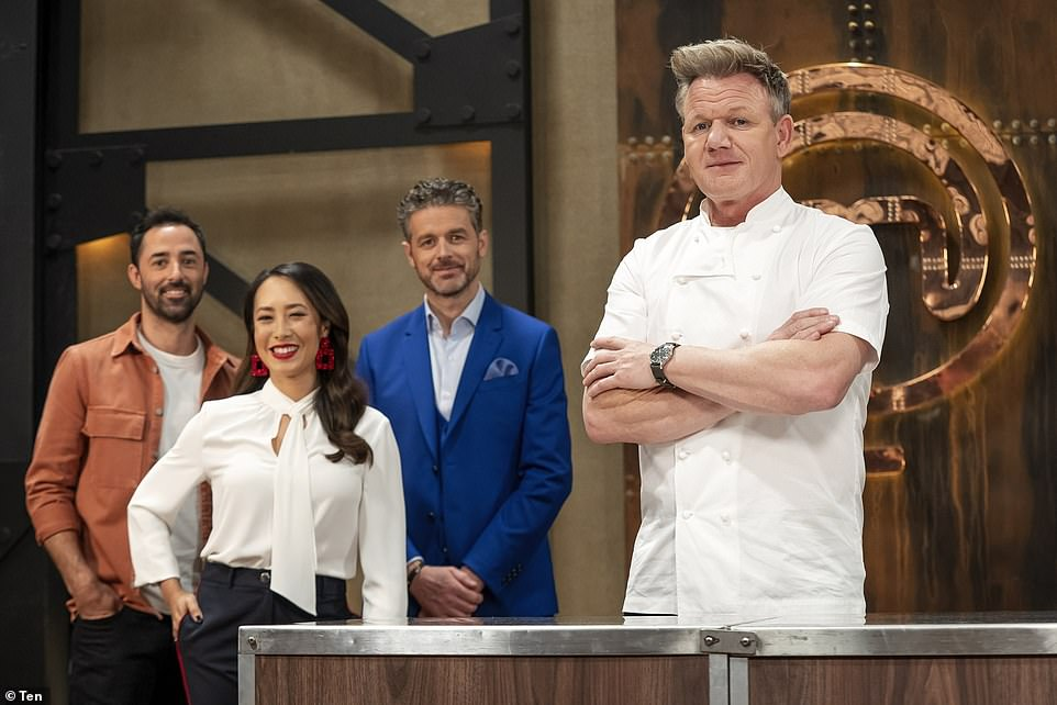 Australians are being inspired to cook at home thanks to this year's MasterChef, with 1.23 million viewers tuning in for the series premiere (pictured, left to right, new judges Andy Allen, Melissa Leong and Jock Zonfrillo, and guest judge Gordon Ramsay)