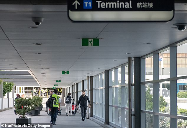Airports across Australia, including Sydney (pictured on April 11) have been empty since the coronavirus outbreak - with a ban on foreign and most domestic travel