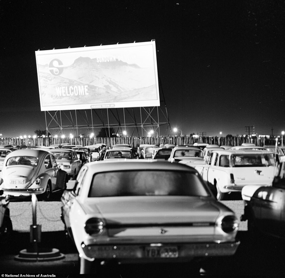 There will be a resurgence in popularity for drive-through movies following the COVID-19 outbreak as people attempt to maintain social distancing while also socialising (pictured, a drive-through in Canberra in 1970)