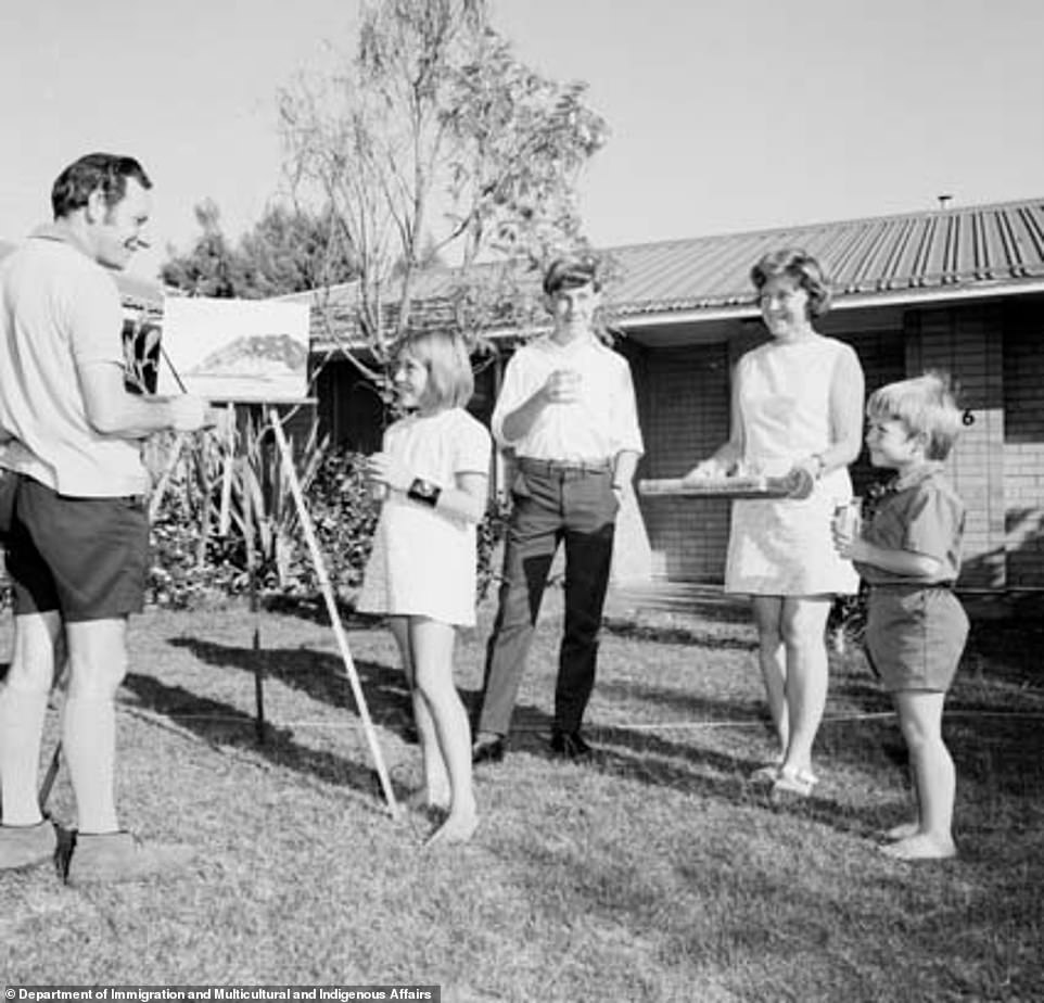 A family are seen enjoying games and crafts outdoors in Dampier, Western Australia, back in 1972 (pictured). Experts said such simple activities were experiencing a resurgence thanks to the coronavirus