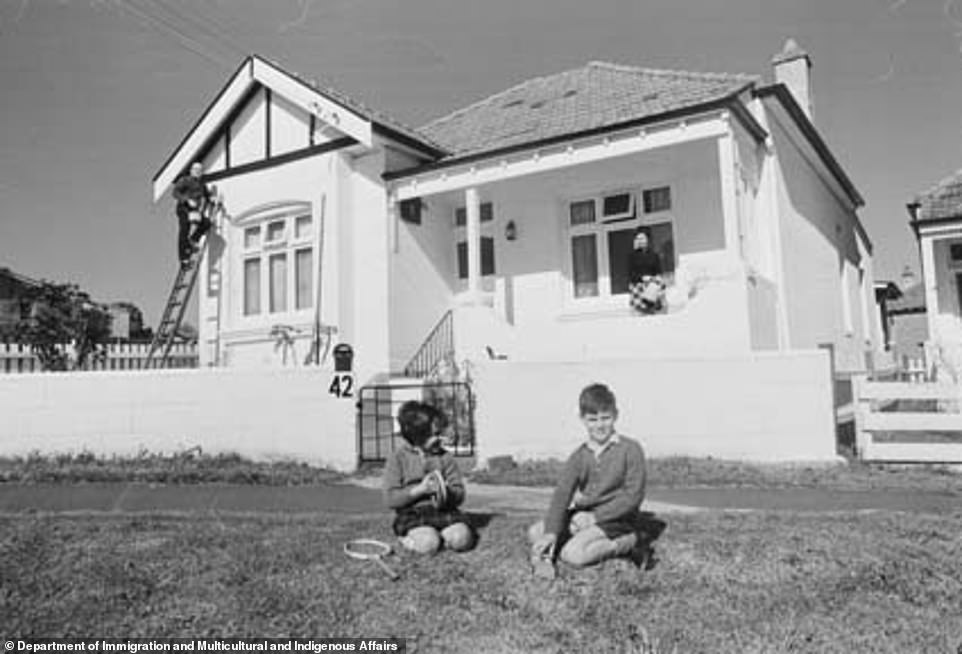 Young boys are seen playing outside their home in a Sydney suburb in 1970 (pictured) with families now looking for similarly property with green outside space