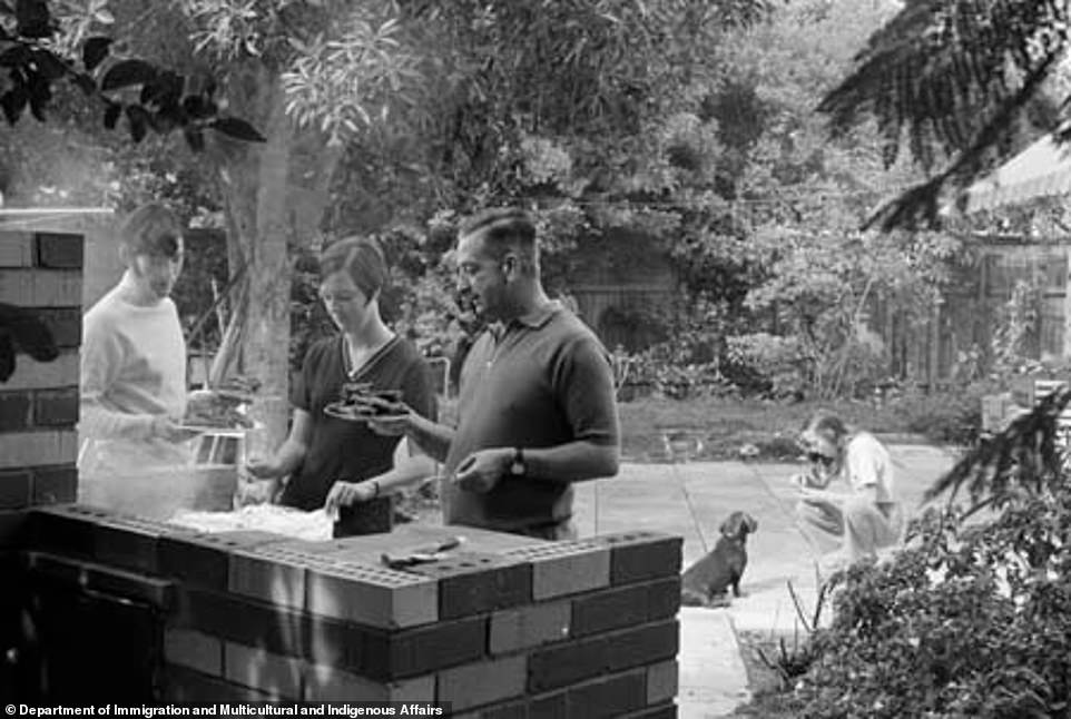 Families, such as this British group in Perth in 1970, have reverted to enjoy mealtimes at home, including BBQs, during the pandemic