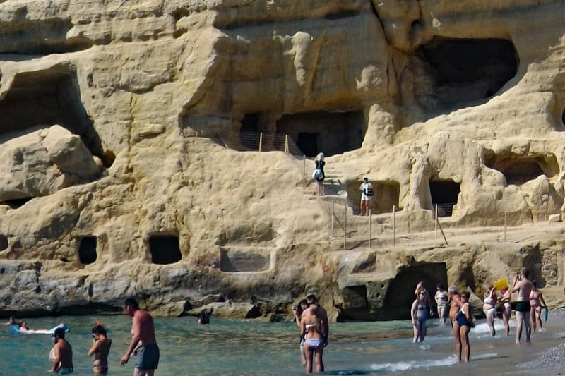 The caves at the beach of Matala, Crete