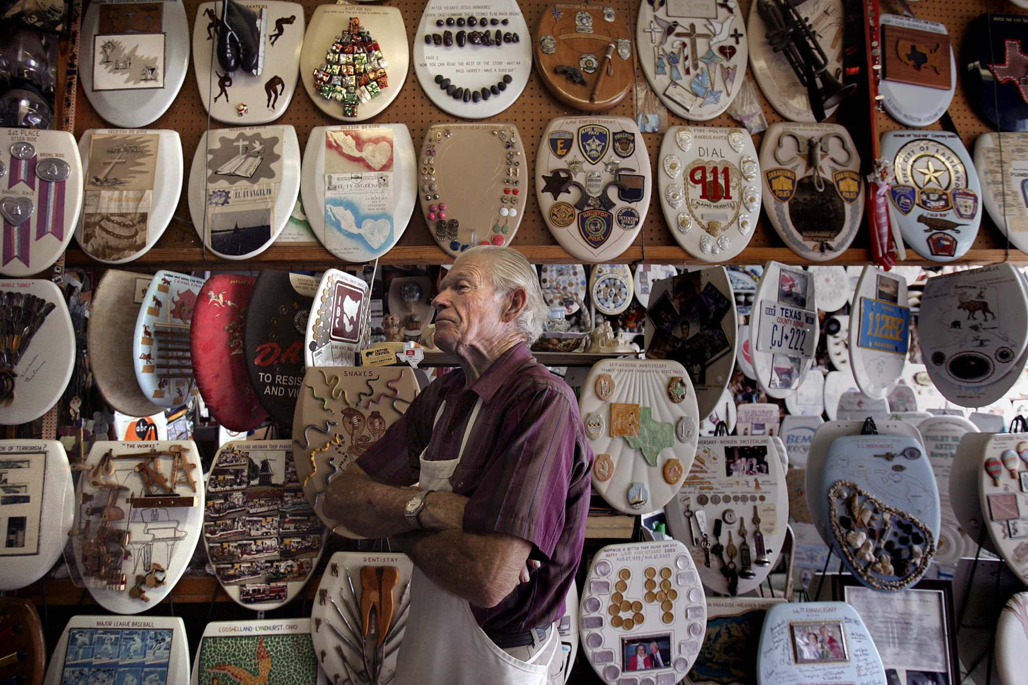 Kin Man Hui / The Associated Press</p><p>For years, Barney Smith created unique art from nearly 1,400 toilet seats and his self-made toilet seat art museum in The Colony, Texas remains well known as an unusual place to visit. Smith died last year at age 98 — only a few weeks after cutting the ribbon at a large new location for his museum.</p></p>
