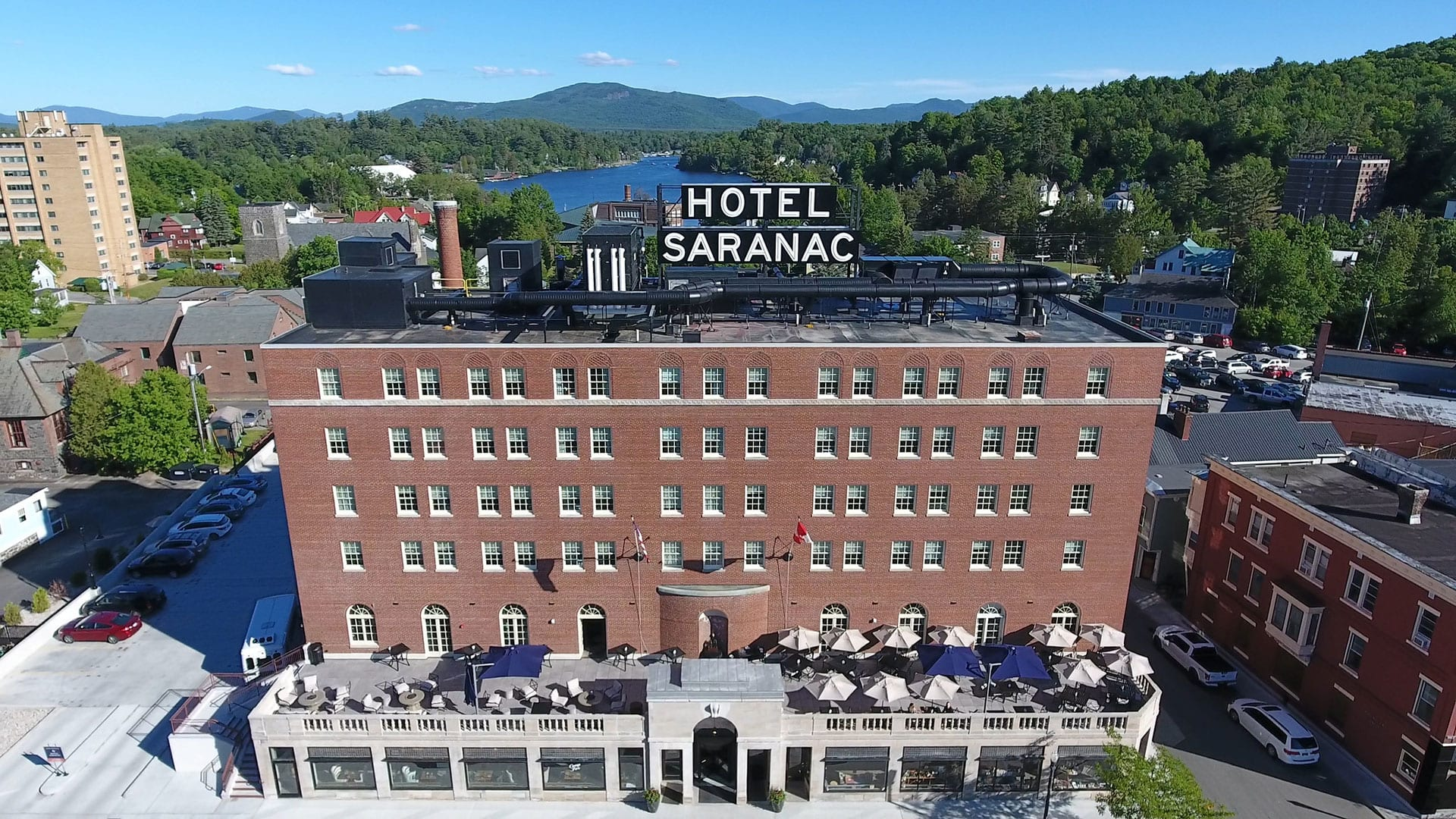 An aerial view of the Hotel Saranac.