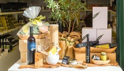 A shop in Dubrovnik selling olives and olive oil