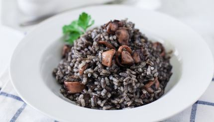 Black Risotto with squid and squid ink sauce