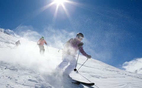 skiers in val disere