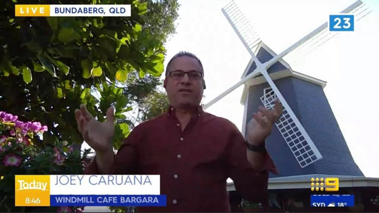 BUNDABERG TOURISM: The Windmill Cafe Bargara's Joey Caruana appeared on Today to showcase the beautiful region.