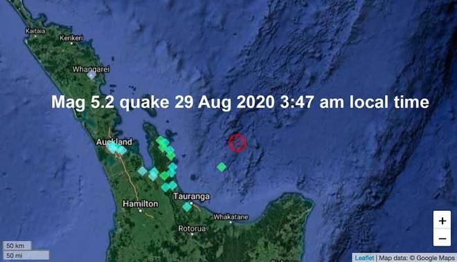Location of this morning's felt quake off New Zealand and locations and intensities of user reports