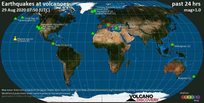 World map showing volcanoes with shallow (less than 20 km) earthquakes within 20 km radius  during the past 24 hours on 29 Aug 2020 Number in brackets indicate nr of quakes.