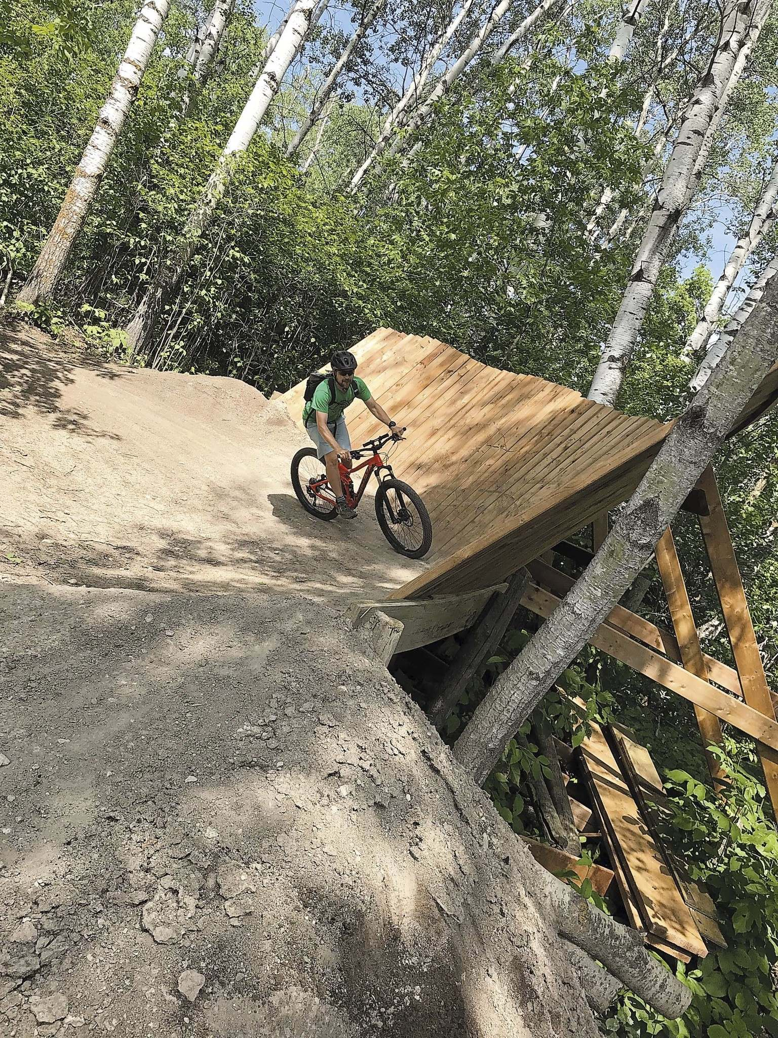 Clayton Swantontackles one of the wooden berms at Northgate.