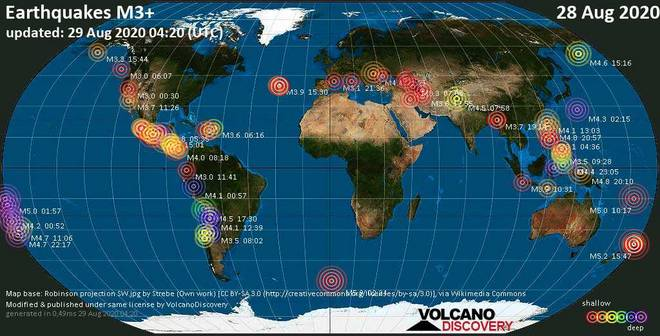 Worldwide earthquakes above magnitude 3 during the past 24 hours on 29 Aug 2020