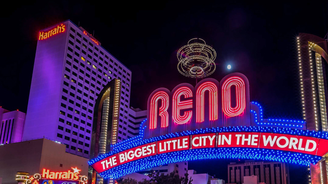 The Reno Arch and Harrah's Casino