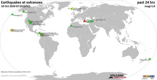 World map showing volcanoes with shallow (less than 20 km) earthquakes within 20 km radius  during the past 24 hours on 10 Oct 2020 Number in brackets indicate nr of quakes.