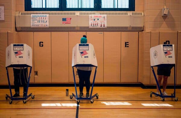Voters at a polling site in Queens during the primary elections in June.